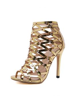 Comfortable Rivet Hollow-Out Shinning High Heeled Sandals