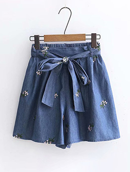 High Waist Embroidery Lace Up Denim Ladies Shorts
