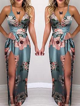 Deep V Printed Split Floor Dresses For Women