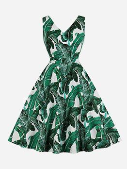 Simple V Neck Printed Sleeveless Dress For Women
