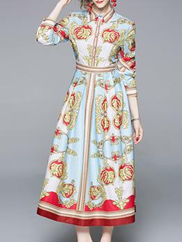 Fashion Printed Midi Long Sleeves Shirt Dresses