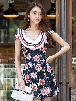 Fitted V Neck Ruffled Printed Short Sleeves Dresses