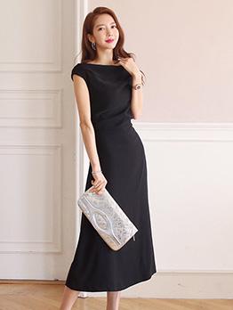 Minimalist Boat Neck Black Midi Dress For Women
