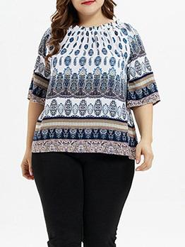 Euro Boat Neck Printed Plus Size Women T-shirts