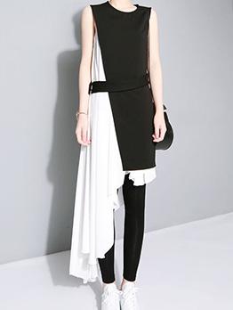 Fashion Patchwork Irregular Sleeveless Two Pieces Dress