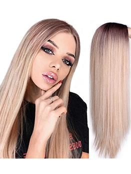 Gradient Gold Long Straight High Temperature Fiber Wig