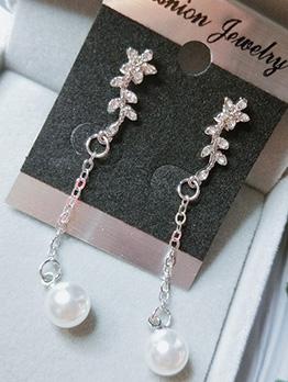 Easy Matching Flower Pearl Ladies Earrings