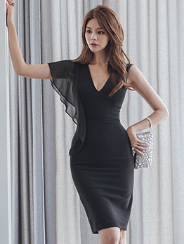 V Neck Single Ruffles Shoulder Slim Black Dresses
