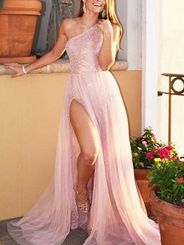 Foil Printing Inclined Shoulder Split Gauze Evening Dresses