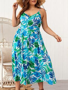 Contrast Color Leaves Printed Female Straps Dresses