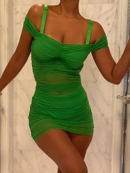 Open Shoulder Gauze See-Through Dresses For Women