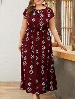 Binding Crew Neck Printed Short Sleeve Maxi Dress