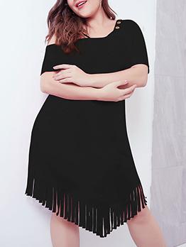 Tassel Swing Solid Inclined Shoulder Short Sleeve Dress