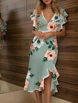 Flower Printed Deep v Ruffled Short Sleeve Dress