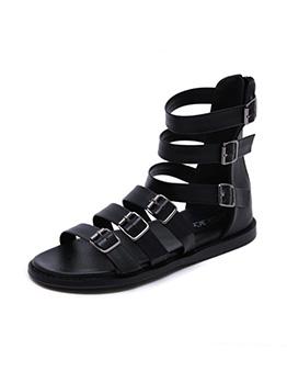 Roman Style Hollow Out Zipper Up Flat Sandals