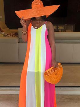 Contrast Color Loose Spaghetti Strap Maxi Dresses