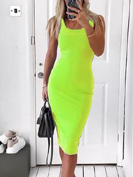 Solid Color U Neck Bodycon Sleeveless Dresses