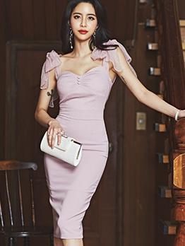 Sexy Bodycon Lace Backless Women Midi Dresses