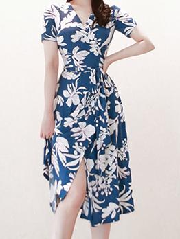 V Neck Contrast Color Flower Short Sleeve Dress