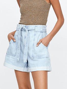 Fashion High Waist Light Blue Denim Shorts