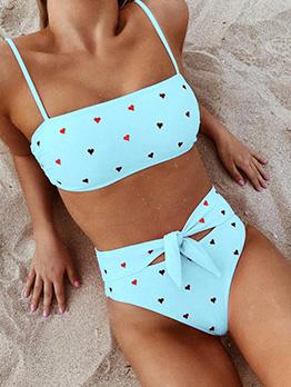 Heart Printed Spaghetti Straps High Waist Bikinis