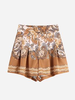 Vintage Printed High Waist Women Pleated Shorts