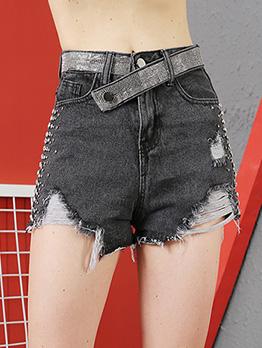 Rhinestone Decor Ragged Hems Short Pants
