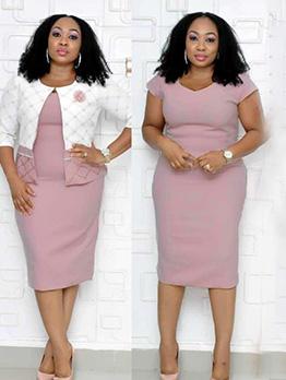 Fashion Printed Short Sleeve TwoPieceDress