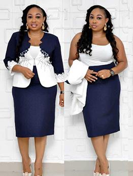Plus Size Contrast Color Two Piece Dress