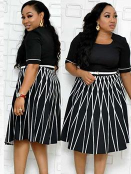 Fashion Plus Size Striped OL Short Sleeve Dress