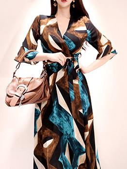 Elegant Lace Up Flare Half Sleeves Midi Dresses
