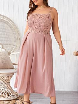 Fashion Hollow Out Lace Patchwork Plus Size Dresses