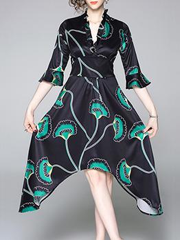Stylish V Neck Printed Irregular Ruffled Sleeve Dress
