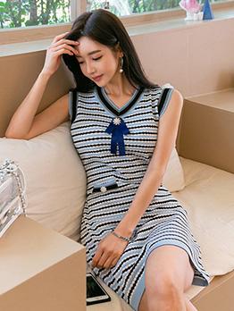 Knitted V Neck Jacquard Weave Sleeveless Dress