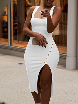 Square Neck Solid Irregular Bodycon Dress