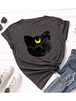 Contrast Color Cat Design Women Short Sleeve T-Shirt