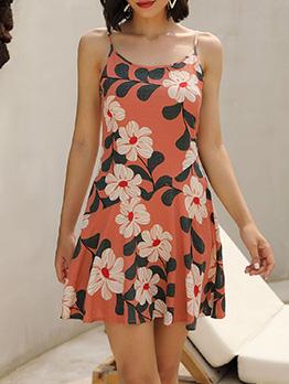 Summer U Neck Backless Strap Floral Dress