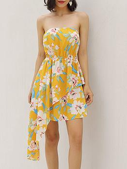 Summer Irregular Hem Floral Tube Dress