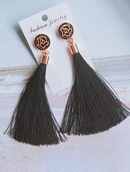 Vintage Style Rhinestones Decor Tassel Long Earrings
