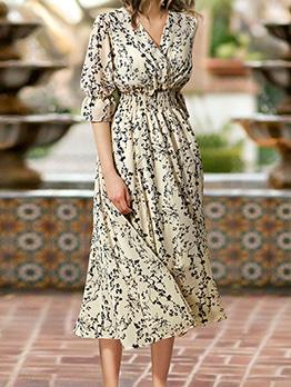 V Neck Smart Waist Floral Midi Dress