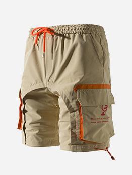 Drawstring Multi Letter Pockets Half Shorts For Men