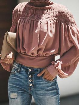 Stand Collar Pleated Lantern Sleeve Chiffon Women T-shirts