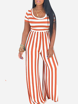Striped Fitted Short Sleeve Wide Leg Jumpsuit
