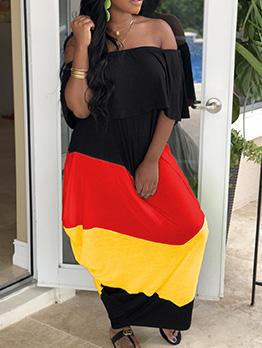 Contrast Color Short Ruffled Sleeve Casual Maxi Dress