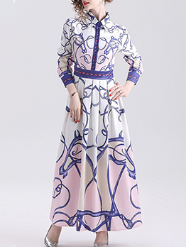 Retro Style Printed Long Sleeve Shirt Maxi Dress