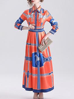 Contrast Color Printed Long Sleeve Shirt Maxi Dress