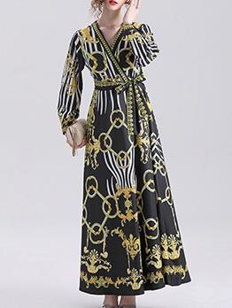 V Neck Lace Up Long Sleeve Maxi Dress