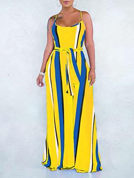 Summer Contrast Color Loose Sleeveless Floor Dress