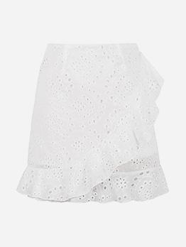 Fashion Hollow Out White Fishtail Hem Skirt