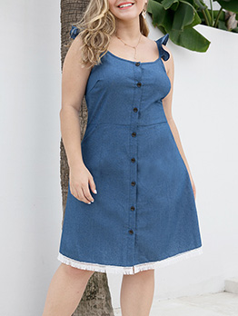 Single-Breasted Tassel Hem Plus Size Sleeveless Dress